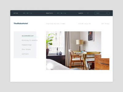 Layout exploration photography typography page clean layout grid editorial booking accommodation branding brand exploration hotel landing website web