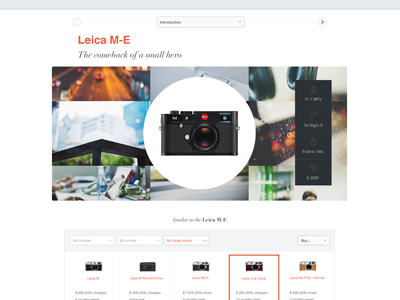 Camera review [wip] web website ui ux interface search photo photography review leica photos orange selection cam camera