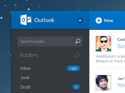 Yeah, finally it's coming to Mac! mail email app mac apple outlook send blue dark ui metro windows interface user message ms microsoft