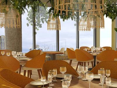 RESTAURANT restaurant photoshop 3dsmax green interior architecture interior