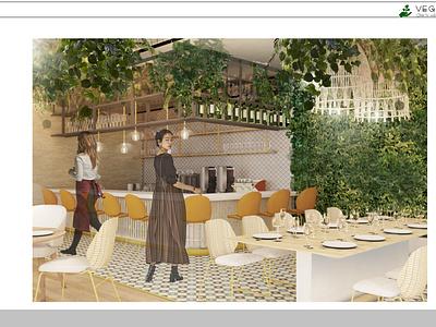 vegan restaurant project greenhouse interior restaurant 3dsmax photoshop green drawing interior architecture design
