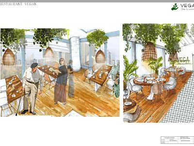 vegan restaurant sketches handdrawing greenhouse drawing restaurant green design interior interior architecture