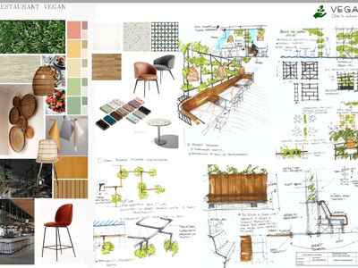 MOODBOARD AND SKETCHES concept moodboard handdrawing restaurant drawing interior architecture design