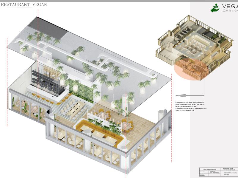 AXONOMETRIC VIEW OF THE RESTAURANT concept green conference room greenhouse restaurant interior interior architecture design 3dsmax