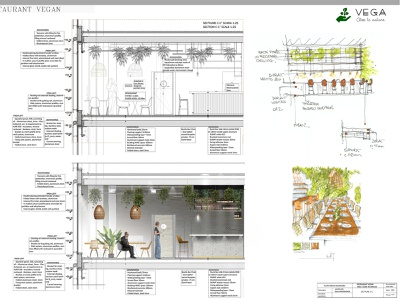 Vega-Close to Nature / SECTION sustainability sustainable materialdesign materials technical autocad green restaurant photoshop design interior architecture