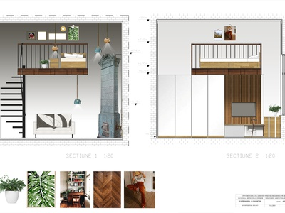CAMPUS room design proposal concept colage design green interior interior architecture