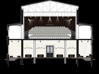 THEATER - front section autocad theater design theatre photoshop design interior architecture interior
