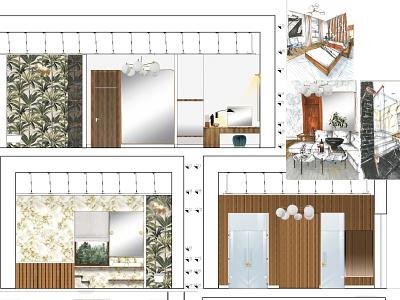 HOTEL- wall views wallpaper midcentury sketch modern hotel autocad photoshop interior interior architecture design