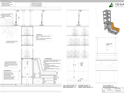 SEPARATING SEATING MODULE technical drawing technical wall green bench product design product axonometric rhinoceros autocad interior interior architecture design