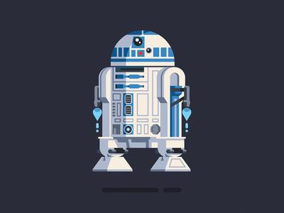 R2-D2 r2d2 starwars movie robot character geometric vector flat design illustration
