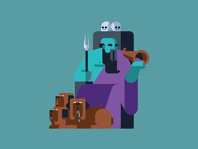 Hades dead hades mythology greece gods character geometric vector flat design illustration