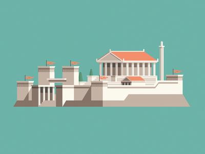 Library of Alexandria egypt temple alexandria library building geometric vector flat design illustration