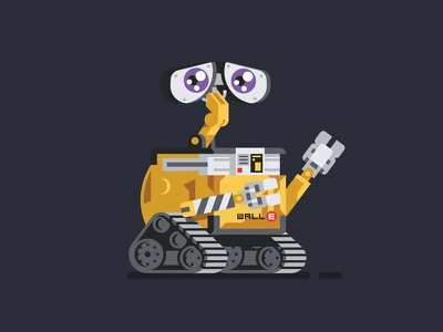 Wall-E wall-e movie pixar robot character geometric vector flat design illustration