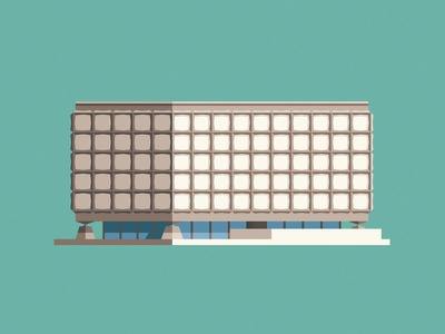 Beinecke Library usa university yale library modern building geometric vector flat design illustration