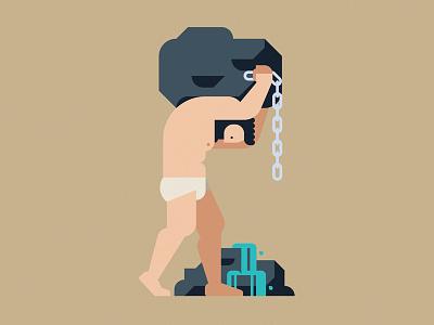 Sisyphus eternity punishment sisyphus mythology greece gods character geometric vector flat design illustration