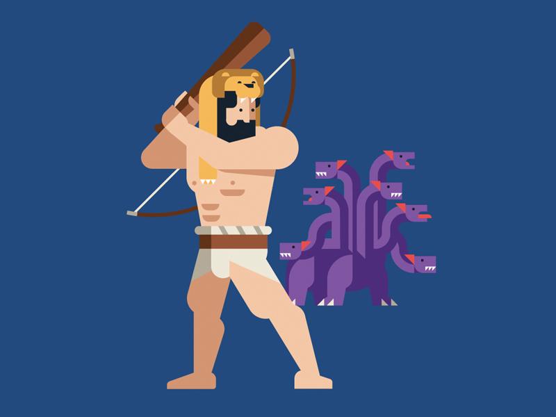 Heracles monster hydra heracles hero mythology greece character geometric vector flat design illustration