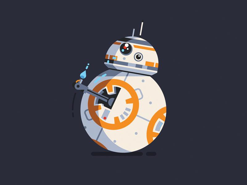 BB-8 bb8 starwars movie robot character geometric vector flat design illustration