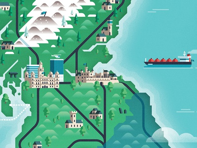 Scotland map edinburgh glasgow scotland transport map building architecture geometric vector flat design illustration