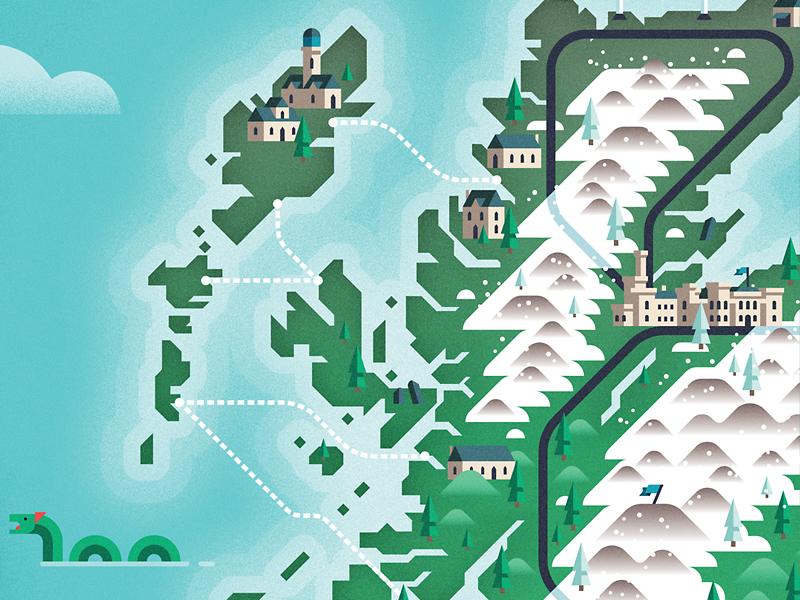 Scotland map nessie inverness scotland transport map building architecture geometric vector flat design illustration