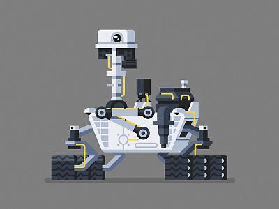 Curiosity curiosity mars nasa robot character geometric vector flat design illustration