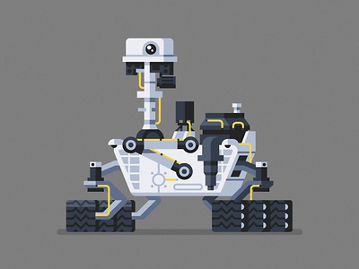 Curiosity curiosity mars nasa robot character geometric vector flat design illustration