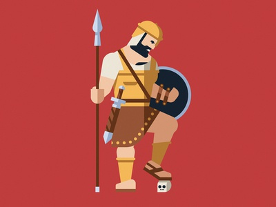 Goliath skull david goliath hero mythology bible character geometric vector flat design illustration