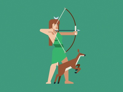 Artemis deer hunt artemis mythology greece gods character geometric vector flat design illustration