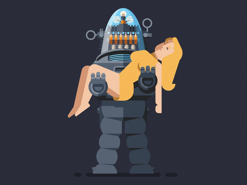 Robby robot vector illustration geometric flat design forbidden planet robbie character
