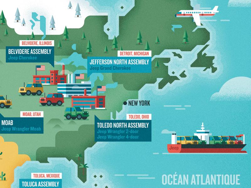 America map geometric flat design vector jeep usa america car plane ship map architecture