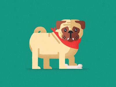 Lil' doggo cute pet pug dog flat geometric texture vector character