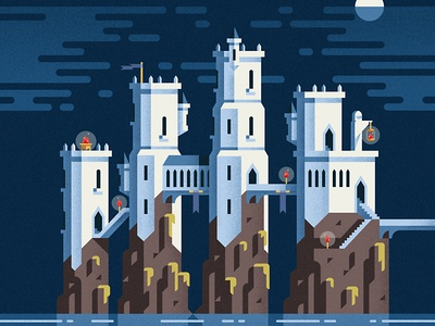 Castle by the sea nightscene gameofthrones got fantasy medieval architecture castle vector geometric flat