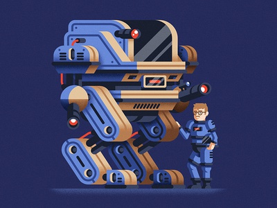 Self-portrait with my bot future mecha robot self-portrait character flat design vector art geometric flat vector