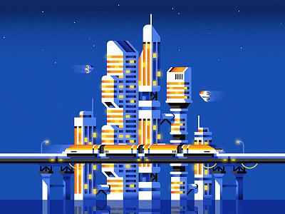 Futuropolis illustration skyline train architecture building future city geometric vector flat