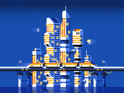 Futuropolis illustration skyline train architecture building future city geometric vector flat