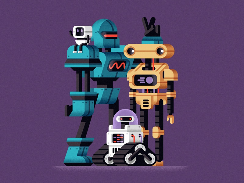 Robot team team illustration geometric machine future character robot flat design vector