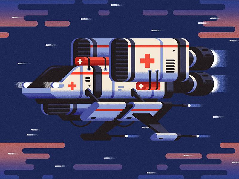 Space medic flying machine sci-fi future spaceship space vector flat geometric illustration