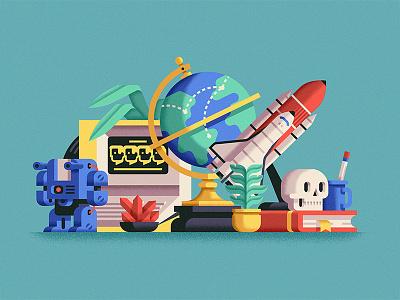 Things that I like space skull robot still life minimal flat design geometric vector artwork illustration