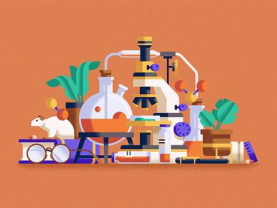 Biologist mouse microscope chemistry illustration still life vector minimal geometric flat design artwork