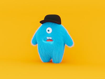 Monster illsutration cap monster fluffy character render blender3d blender
