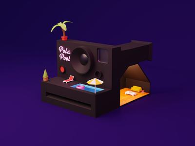 Polaroid pool illustration c4d blender polaroid 3d