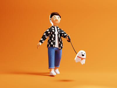 Ghost man orange halloween walk ghost blender 3d character illustration