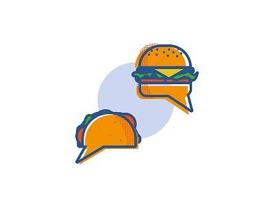Food Talk comic bubble talking junk fajitas talk tacos burger food