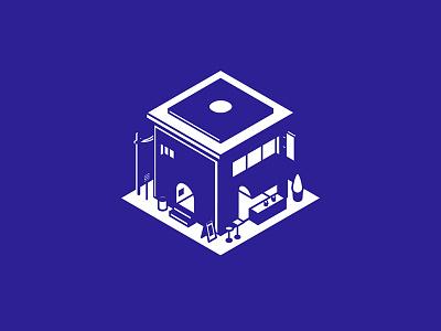 House bleu isometric blue monochrome bar maison house