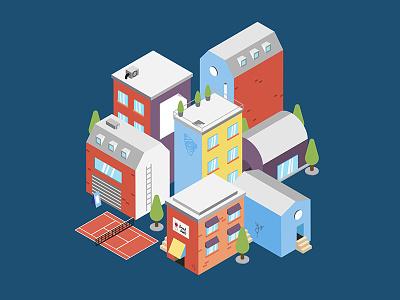 City town waldo shop illustration tennis house street colors 3d flat isometric city