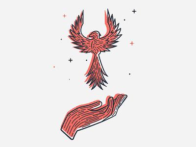 phoenix illustration bird hand logo phoenix