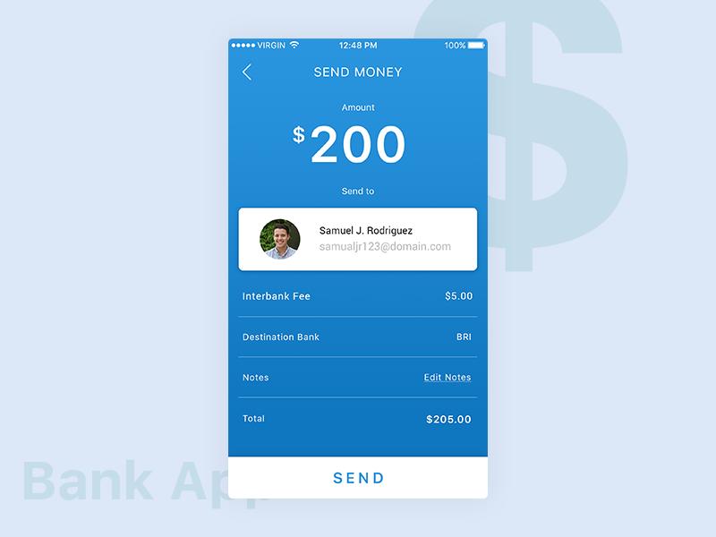 Bank App Send Money send money money send ux ui photoshop design mobile app bank app bank