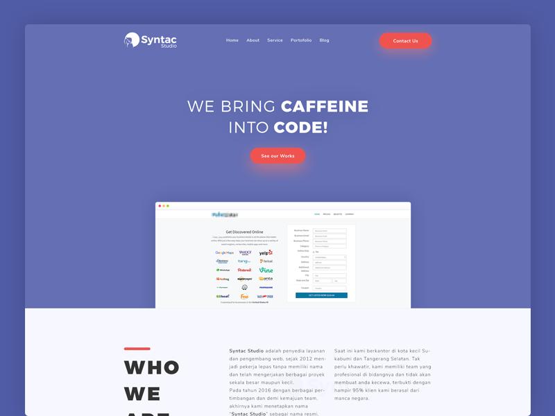Syntac Studio Redesign purple mockup app apps design page landing code studio syntac web website