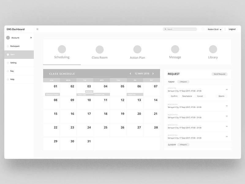 Low-Fi EMS Dashboard low fidelity user experience website user interface ux ui design dashboard