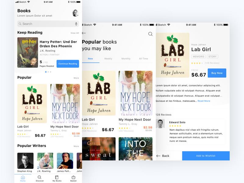 Book Store App store mobile app mobile user experience user interface ux ui design sketch book app book