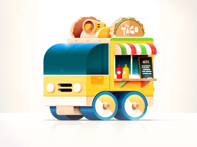 Toys - Taco Truck dribbbleweeklywarmup menu car brand mexico wood toy ketchup truck food travel icon simple kids branding color cute design vector illustration